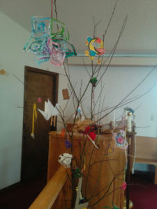Jesse Tree decorated with symbols portraying the spiritual heritage of Jesus.